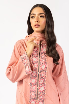 Embroidered Cotton Shirt With Screen Printed Lawn Dupatta - IPS-21-55 2PC