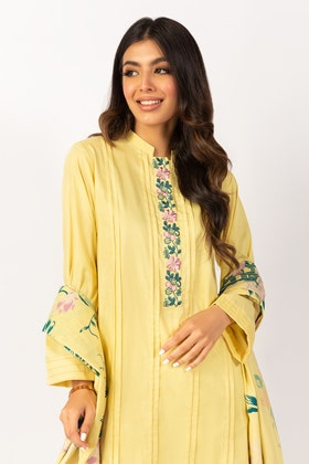 Embroidered Cotton Shirt With Screen Printed Lawn Dupatta - IPS-21-56 2PC
