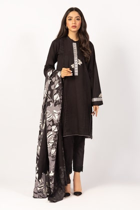 Embroidered Cotton Shirt With Screen Printed Lawn Dupatta - IPS-21-57 2PC