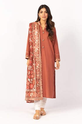 Embroidered Cotton Shirt With Screen Printed Lawn Dupatta - IPS-21-60 2PC