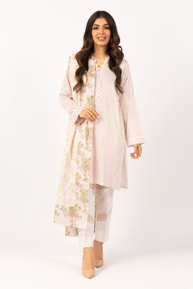 Embroidered Cotton Shirt With Screen Printed Lawn Dupatta - IPS-21-61 2PC