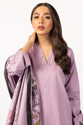 Embroidered Cotton Shirt With Screen Printed Lawn Dupatta - IPS-21-62 2PC