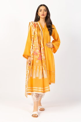 Embroidered Cotton Shirt With Screen Printed Lawn Dupatta - IPS-21-63 2PC