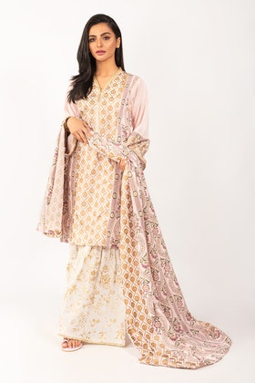 Dyed Cotton Shirt With Screen Printed Lawn Dupatta IPS-21-68 2PC