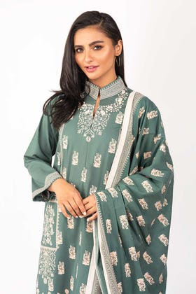 Dyed Cotton Shirt With Screen Printed Lawn Dupatta IPS-21-72 2PC