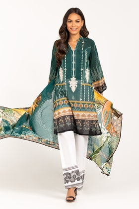 Embroidered Light  Cotton Shirt With Printed Lawn Dupatta IPS-21-73 2PC