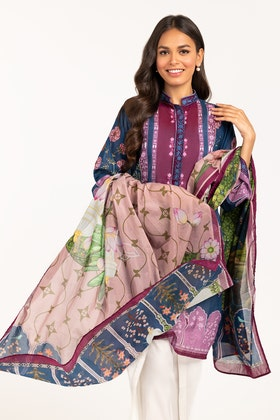 Embroidered Light  Cotton Shirt With Printed Lawn Dupatta - IPS-21-78 2PC