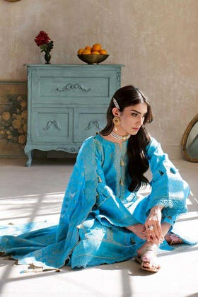 3PC Unstitched Embroidered Jacquard Suit MJ-58
