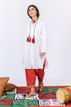 Cambric Embroidered Shirt with Digital Printed Embroidered Shalwar WGK-LWS-DE-451