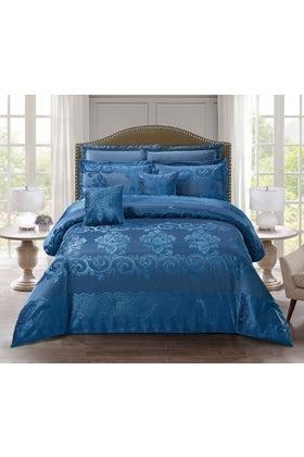 MOROCCAN BLUE Chenille Bed Spread Set