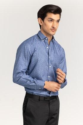 Navy-Grey Checkered Formal Shirt CM-YD-2887