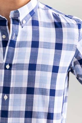Navy-White Checkered Smart Casual Shirt CM-YD-2899 SC