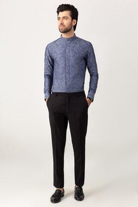 Navy Jacquard Casual Shirt CM-YD-2757 Mr. Blue