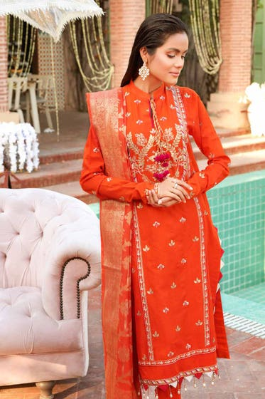 3 PC Unstitched Embroidered Lawn Suit with Jacquard Dupatta FE-12234
