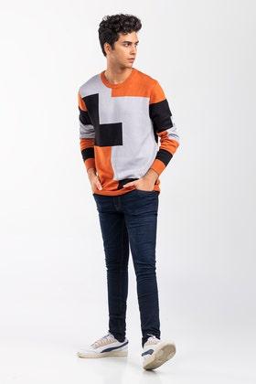 Orange-Black Fashion Sweater FS-SWT-VPN-FD-414-01