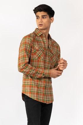 Orange-Green Casual Shirt CM-YD-2865 CS
