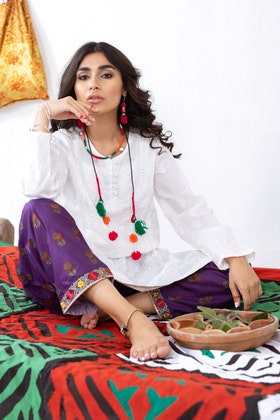 Cambric Embroidered Shirt with Digital Printed Embroidered Shalwar WGK-LWS-DE-149