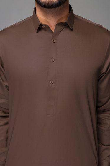 Khaki Brown Unstitched Fabric HI TEX SATIN