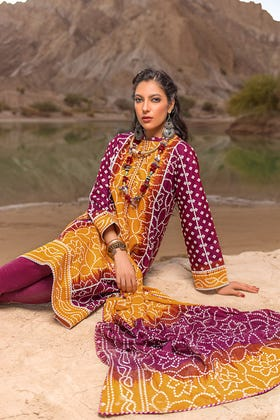 3PC Unstitched Chunri Lawn Suit With Lacquer Printed Lawn Dupatta CL-1321 B