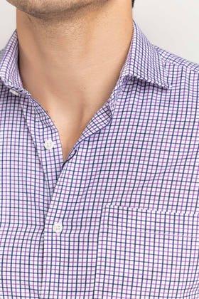 Purple-Blue Checkered Formal Shirt CVC-YD-502 HS