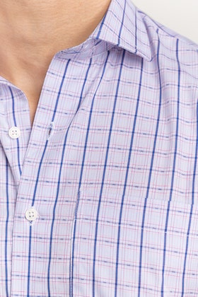Purple-Blue Checkered Formal Shirt CVC-YD-506 HS