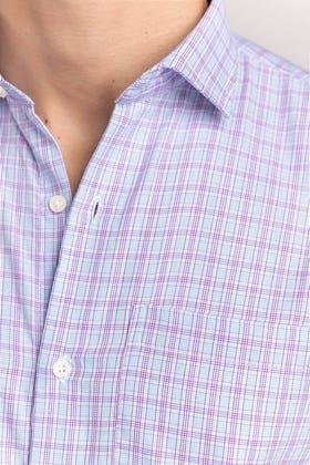 Purple-Grey Checkered Formal Shirt CVC-YD-503 HS
