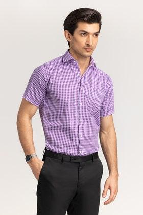 Purple-White Checkered Formal Shirt CVC-YD-501 HS