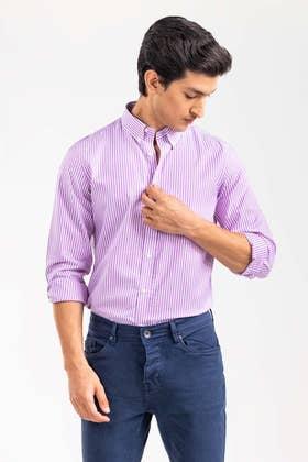 Purple Striped Smart Casual Shirt CM-YD-2898 SC