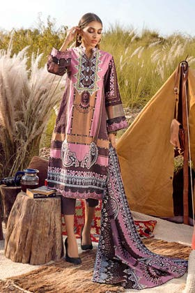 3PC Unstitched Irani Pashmina Dupatta Suit AP-12078