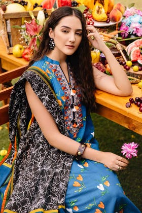 2PC Digital Embroidered Cambric Shirt With Lawn Dupatta TCE-12011