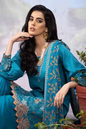 3PC Unstitched Embroidered Suit with Chiffon Dupatta BM-12019