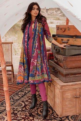 3PC Unstitched Corduroy Suit with Printed Cotton Net Dupatta CD-12008 B