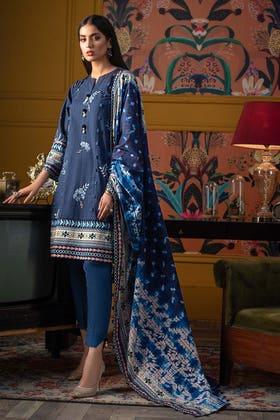 3PC Unstitched Digital Printed Khaddar Suit K-12038 B