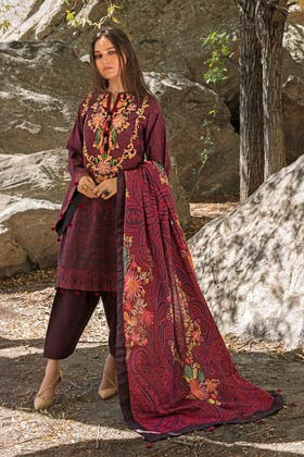 3PC Unstitched Khaddar Embroidered Suit With Poly Viscose Dupatta PVS-12010