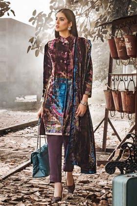 3PC Unstitched Velvet Suit With Velvet Dupatta BVL-12008 A