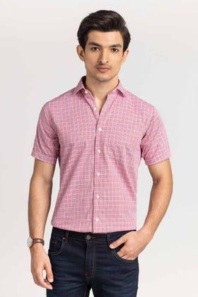 Red-Blue Checkered Formal Shirt CVC-YD-507 HS