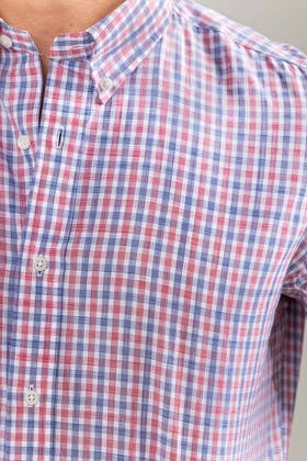 Red Blue Checkered Smart Casual Shirt CM-YD-2902 SC