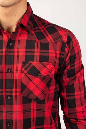 Red Checkered Casual Shirt CM-YD-2864 CS