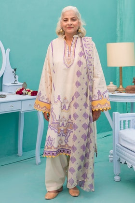 3PC Unstitched Lawn Digital Printed Suit With Embroidered Chiffon Dupatta BM - 176