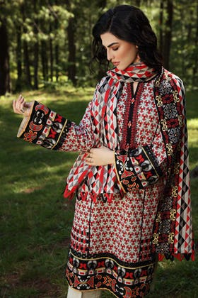 2PC Unstitched Embroidered Khaddar Suit with Printed Khaddar Dupatta TK-12006