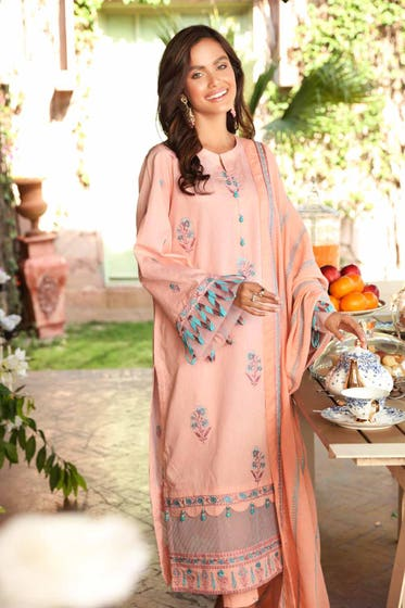 3 PC Unstitched Embroidered Lawn Suit with Cotton Net Dupatta FE-12031