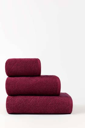 Ruby Red Combed Jacquard Towel
