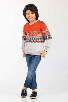 Rust-Grey Fashion Sweater FS-KIDS-SWT-FD-46-01