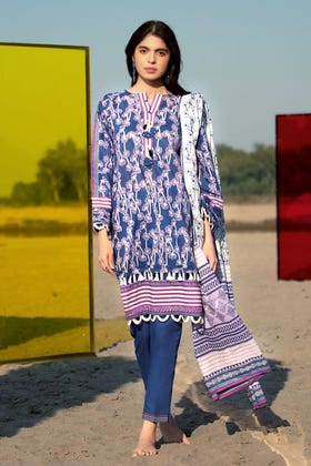 3PC Unstitched Printed Lawn Suit With Argan Oil Finish CL-1068 A