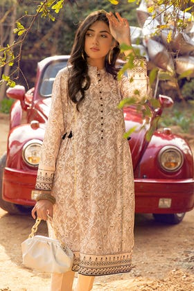 1PC Unstitched Gold & Lacquer Printed Lawn Shirt SL-926 A
