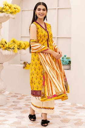 3PC Unstitched Gold Printed Lawn Suit With Gold Printed Lawn Dupatta CL-1040 A