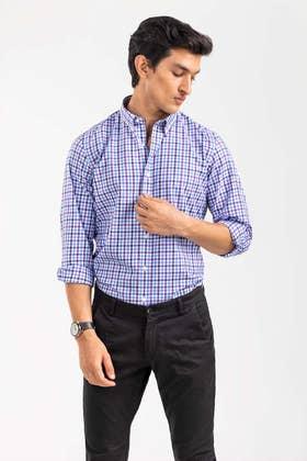 Sky Blue Checkered Smart Casual Shirt CM-YD-2894 SC