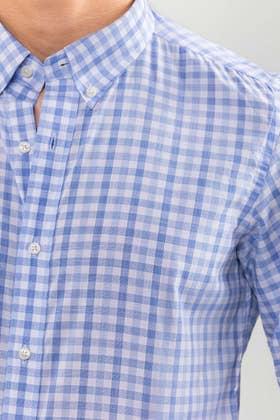 Sky Blue Checkered Smart Casual Shirt CM-YD-2901 SC