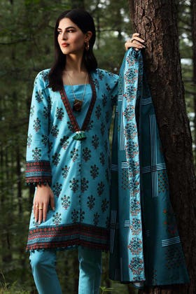 2PC Unstitched Digital Printed Khaddar Suit TK-12010 A