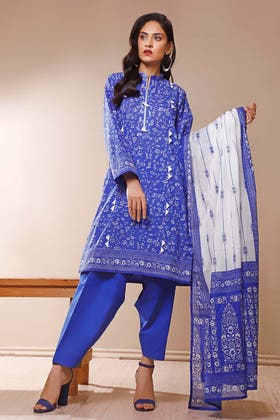3PC Unstitched Printed Suit With Printed Lawn Dupatta CL-1049 B